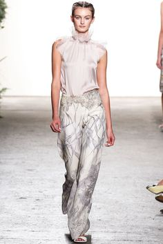 What every women needs in her closet! A fabulous blouse, feminine and chic and an awesome pair of trousers... #MBFW #NYFW Honor spring 2013