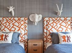 cute shared kid bedroom with orange and blue bedroom decor, nautical kid bedroom, shared kid room design with orange upholstered headboards and blue bedding, animal kid room at lake house or cottage Kids Bedroom Designs, Boys Bedroom Decor, Kids Room Design, Rooms Home Decor, Blue Bedroom, Bedroom Ideas, Cubs Room, Boy And Girl Shared Room, Kid Spaces