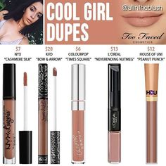 COOL GIRL DUPES What Too Faced shade would you like to see duped next? Let me know in the comments! Full details and swatches are on allintheblush.com #allintheblush #makeupslaves #trendmood #vegas_nay #makeup #beauty #hudabeauty #slave2beauty #insta_makeup #norvina #glamrezy #amrezy #makeupartist #motd #mua #makeupaddict #wakeupandmakeup #makeup #bbloggers #beautyblogger #beautyaddict #beautyguru #makeupblogger #toofaced #toofacedcosmetics #dupe #dupethat #dupes #lipstick #lips...