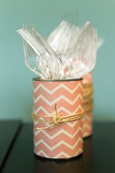 Soup cans wrapped in scrapbook paper