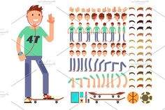 Young and happy vector character creation constructor. Student boy with headphones. Human Icons