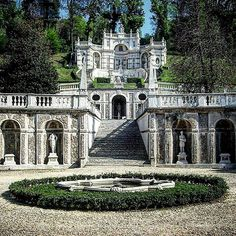 """Villa della Regina Torino. Queen's Villa Turin. The garden was designed and achieved in the 17th century in the style of the early Roman baroque. It looks like a theatre """"carved"""" in the hill overlooking Turin. The richness in statues balustrades and pavilions creates a perfect mix of natural amenity and noble context next to the vineyards of the estate. The magnificent view dominates the city and looks to the Alps. . . #residenzesabaude #villadellaregina #queen #villa #royalpalace #royal…"""