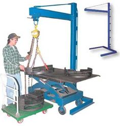 "Mini Overhead Cantilever Jibs are utilized in work cells and work areas. Unique design allows for outriggers to be mounted underneath a work bench. Easily lift product from cart to workbench. Straddle width is 48"" (ID). Hoist, trolley and cart not included. Steel construction. Durable blue powder coat finish."