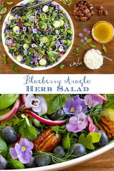 This beautiful salad is super healthy and probably the freshest, most delicious salad that you'll ever have the pleasure of meeting… or eating! #healthysalad #freshherbs #blueberries Clean Eating Recipes, Lunch Recipes, Beef Recipes, Dinner Recipes, Make Ahead Lunches, Lunches And Dinners, Healthy Salads, Healthy Recipes, Quick Pickled Red Onions
