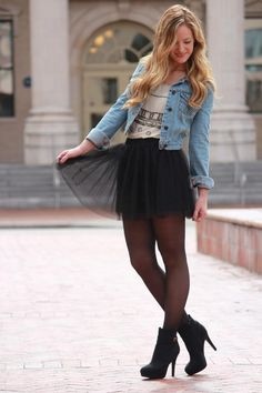 Tulle skirt outfit, winter fashion