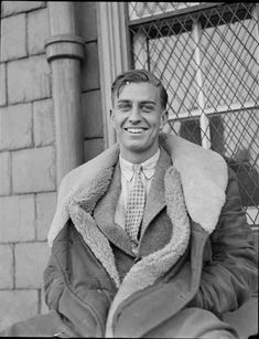 """I'm digging the fur coat on this Harvard crew captain (1938); now the question is """"Would I like this image as much if it were in color?"""""""