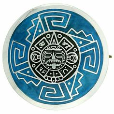 Sterling Silver Aztec Calendar Mandala Brooch Pin Pendant w/ Green Enamel Background, 1 inch -- Details can be found by clicking on the image. (This is an affiliate link) Aztec Symbols, Mayan Symbols, Opa Tattoo, Mexico Tattoo, Mayan Tattoos, Aztecas Art, Azteca Tattoo, Trill Art, Aztec Calendar