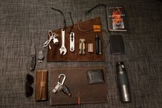 """Red Clouds Collective Tool Roll Kershaw Blur Nixon Private SS Wristwatch iPhone Charger Craftsman 8"""" Adjustable Wrench (with homemade lanya..."""