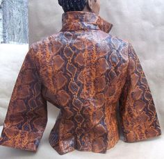 Vintage 70's 'Ossie Clarke'  STYLE  PYTHON SNAKE JACKET  L 14 Faux leather #HRO #MotorcycleVintageStyle