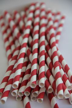 Red Striped Paper Drinking Straws