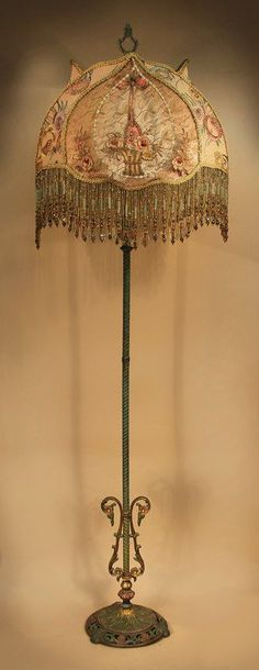 Antique Floor Lamp with one-of-a-kind victorian-style lamp shade