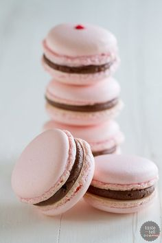 Chocolate Cherry French Macarons - French macarons filled with a maraschino cherry and chocolate buttercream. by nell