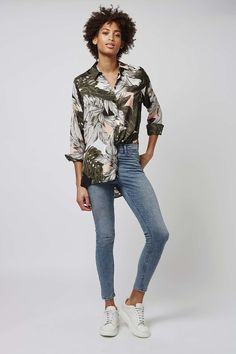 Oversized Palm Print Shirt