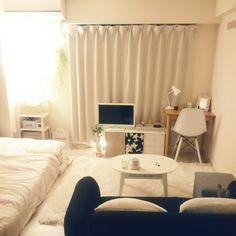 mikansanさんの、部屋全体,無印良品,一人暮らし,Francfranc,1K,賃貸,のお部屋写真