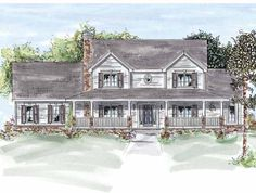 Farmhouse House Plan with 2410 Square Feet and 4 Bedrooms from Dream Home Source | House Plan Code DHSW25989