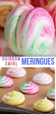 Rainbow Swirl Meringues Best Kids Video Dessert Recipe #dessert #meringues #rainbow