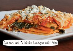 Spinach and Artichoke Lasagna with Feta--doesn't this look & sound amazing?! From Diana at hormonal-imbalances.com