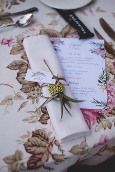 Minuta, menu card, detalles de boda, wedding details   Photo by F2studio