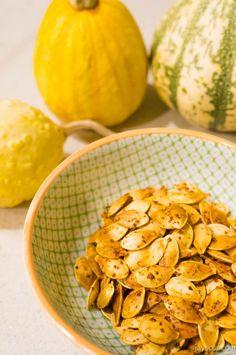 Roasted pumpkin seed recipe - garlic goodness