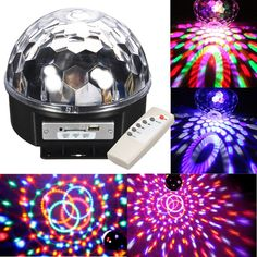 Auto Strobe RGB Effect LED Rotate Stage Crystal Ball LED Light Lamp for KTV Bar