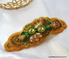 Greenery Statement bracelet Embroidered by RoyalKittyJewelry Handmade Jewelry, Unique Jewelry, Handmade Gifts, Crochet Earrings, Brooch, Trending Outfits, Detail, Bracelets, Greenery
