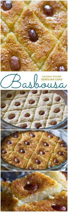 Basbousa Aka Harissa (Kokosnuss-Joghurt-Grießkuchen) – Gimme Delicious – Join the world of pin Arabic Dessert, Arabic Sweets, Arabic Food, Middle East Food, Yogurt Cake, Coconut Yogurt, Fruit Yogurt, Yogurt Smoothies, Gastronomia