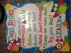 Class rules poster, used circuit vinyl to make so it's reusable after its laminated!