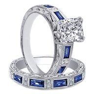 Cushion Diamond engagement ring matching wedding band bridal set