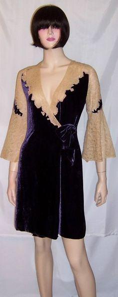 1920s eggplant colored silk velvet peignoir with ecru lace. Via 1stdibs.com/.