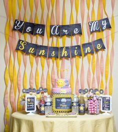 Fun dessert table at a sunshine baby shower party! See more party ideas at CatchMyParty.com!