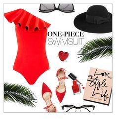 """Ruffled Up Swimwear"" by danielle-487 ❤ liked on Polyvore featuring Manolo Blahnik, Yves Saint Laurent, Bobbi Brown Cosmetics, Cutler and Gross, Alison Lou, Gucci and ruffledswimwear"