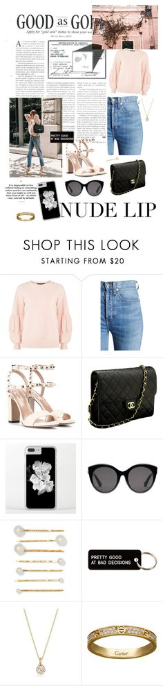 """""""Casual outfit#2"""" by fosterj-i ❤ liked on Polyvore featuring Dorothy Perkins, RE/DONE, Valentino, Chanel, Gucci, Jennifer Behr, Various Projects, David Yurman and Cartier"""