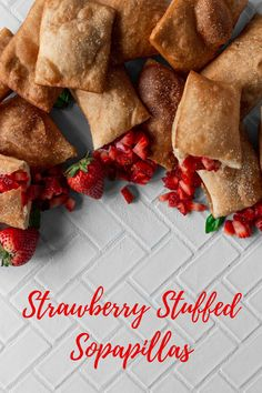 This delicious Latin dessert is made with a strawberry twist! The fluffy sopapillas are filled with sweet fresh strawberries. Recipe by A Simple Pantry.  #californiastrawberries #sopapillas #strawberrystuffed #strawberrydesserts #latinrecipes #latinamericanrecipes #latininspiredrecipes #latindesserts #dessertrecipe #cookingathome #recipes Strawberry Desserts, Latin Food, Strawberries, Pantry, Serving Bowls, Sweet Treats, Dessert Recipes, Fresh, Baking