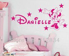 b。 z。 diyミニーマウス送料無料d個人化された名前の芸術のステッカーの家の装飾のビニール125x65cmの子供の寝室のための壁のステッカー