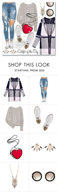 """""""Outfit of the day- Cool beauty"""" by dressedbyrose ❤ liked on Polyvore featuring WithChic, Petit Bateau, T By Alexander Wang, Converse, Victoria's Secret, Pamela Love, Lulu Frost, Miu Miu, women's clothing and women's fashion"""