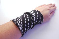 White Raindrops Wrist Cuff Black and White Jersey by stunninglooks, €4.65