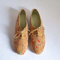 Confetti cork vegan pony oxford shoes (Handmade to order)