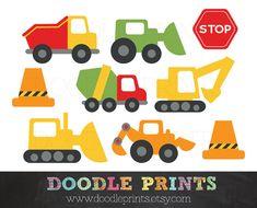 ClipArt Bau LKW - Bau Digital Clip Art Design - Trucks, Stopp-Schilder, Müllwagen, Bulldozer - persönlichen Gebrauch bestimmt