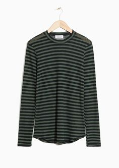 & Other Stories image 1 of Striped Top in Black/Khaki Green