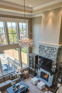 Two Story Living Room Home Design Ideas, Pictures, Remodel and Decor