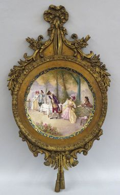Limoges Magnificent HP Scenic Wall Plaque/Charger Signed Dubois in Original Ornate Period Wood Carved Frame Art Decor, Decoration, Victorian Paintings, Victorian Frame, Victorian Style Homes, Vintage Photo Frames, Shabby Chic Frames, Painted Jars, Arte Pop