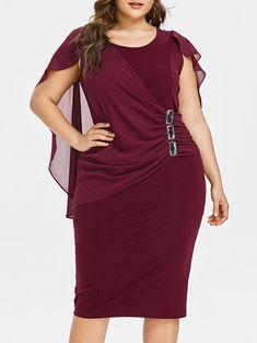 f73c3c1b5 Capelet AZULINA Plus Size Strass Ruched Embelezado Vestido de Verão O  Pescoço Sem Mangas Vestidos Das