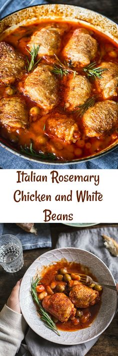 This Italian-style Rosemary Chicken and White Beans with olives is a great everyday dinner that the whole family will love!