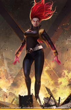 InHyuk Lee,artist,Jean Grey,Чудо-Девочка, Джин Грей,X-Men,Люди-Икс,Marvel,Вселенная Марвел,фэндомы,Phoenix (Marvel),Феникс
