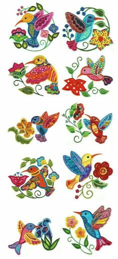 Embroidery Designs by JuJu Jacobean Hummingbirds Applique - Picmia Sewing Machine Embroidery, Free Machine Embroidery Designs, Applique Patterns, Applique Designs, Embroidery Design By Hand, Jacobean Embroidery, Crewel Embroidery, Embroidery Applique, Cross Stitch Embroidery