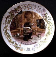 Mole illustrated by Bev Bush for Cosgrove Hall Productions- Wind in the Willows- on Aynsley China. 1982