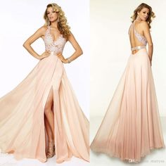 Sexy Girls Halter Neckline Backless Prom Dresses Long 2015 Chiffon With Lace Side Split Floor Length A Line Evening Party Dress Gowns Hot Long Prom Dresses Under 100 Mermaid Style Prom Dresses From Marrysa, $108.55| Dhgate.Com