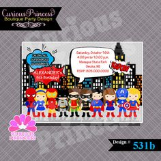 531 supeheroes invitations or thank you by CuriousPrincessParty, $10.00 batman robin superman spiderman ironman batgirl supergirl captain america and more! cute for a super hero costumes birthday party, more ideas at www.CuriousPrincess.com