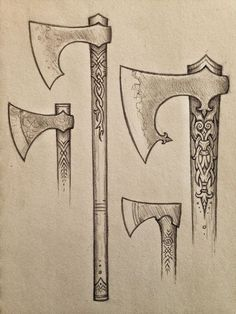 Old-land Axes Art Print by daviddelagardelle Viking Sword, Viking Axe, Swords And Daggers, Knives And Swords, Machado Viking, Hammer Tattoo, Axe Drawing, Escudo Viking, Norse Tattoo