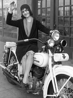 1920s woman on motorcycle